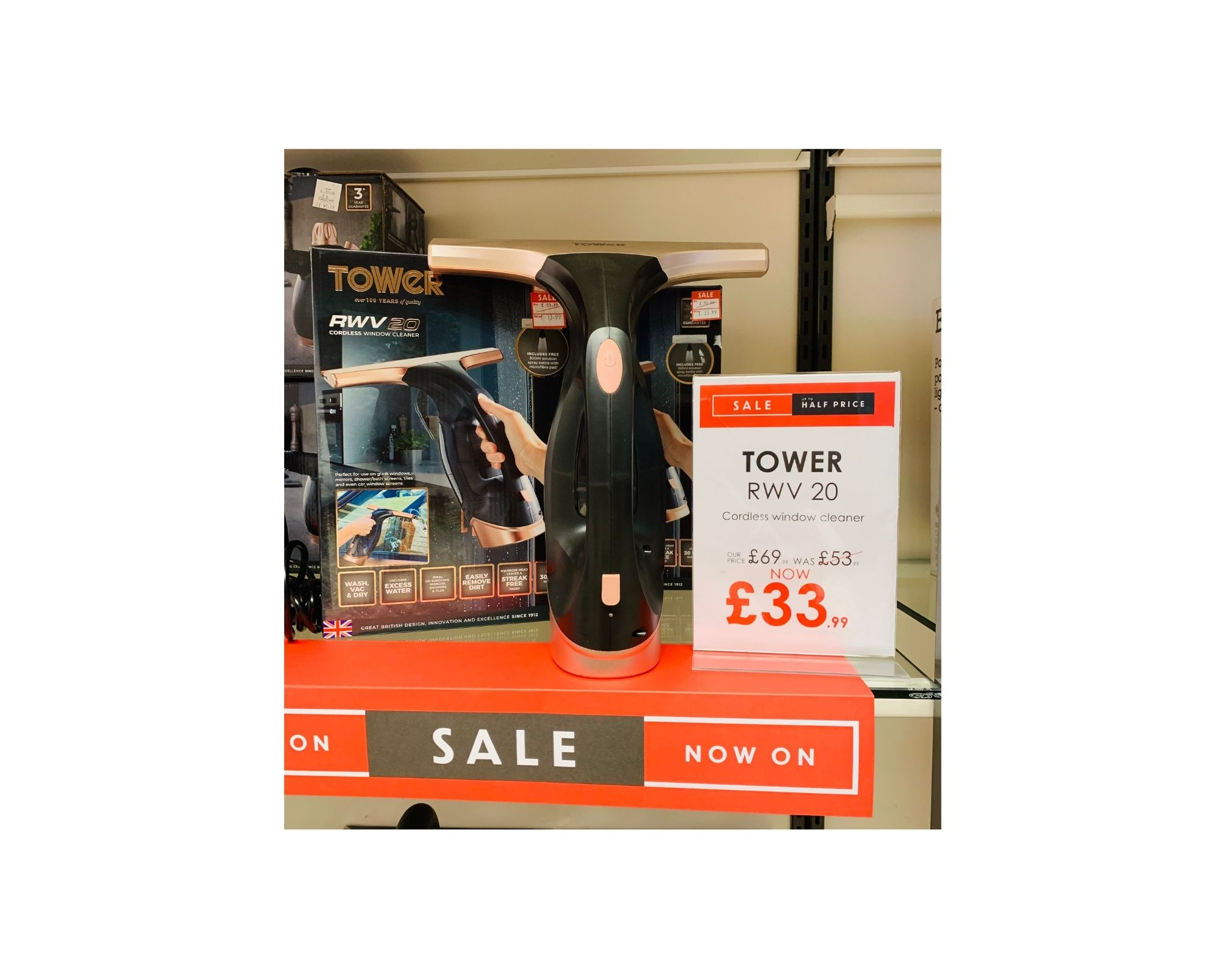 Tower  RWV 20 Cordless Window Cleaner  UK £69.99 | JSY £53.99 |  NOW £33.99